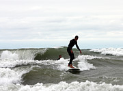 Surf Culture Posters - Surfers challenging wild waves on Lake Michigan Poster by Purcell Pictures