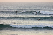 Ripping Framed Prints - Surfers Crowd The Lineup As Waves Peel Framed Print by Jason Edwards