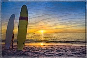 Sunset Greeting Cards Posters - Surfers Dreams Poster by Debra and Dave Vanderlaan