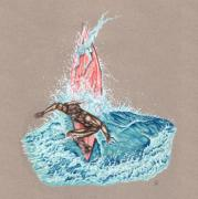 Print Drawings Originals - Surfers Lover by Karen Musick