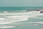 Leisure Activity Prints - Surfers Lying In Ocean Print by Cindy Prins