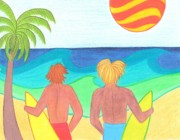 Summer Posters - Surfers on Wave Watch Poster by Geree McDermott