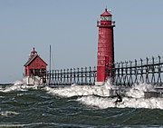 Grand Haven Prints - Surfing at Grand Haven Print by Wade Aiken