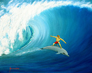 Dolphin Surfing Paintings - Surfing Buddy by Jerome Stumphauzer
