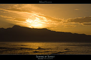 Surf Silhouette Posters - Surfing by Sunset - Maui Hawaii Posters Series Poster by Denis Dore