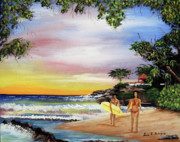 Puerto Rico Paintings - Surfing In Rincon by Luis F Rodriguez