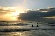 Surf Silhouette Metal Prints - Surfing into Sunset Metal Print by Matt Tilghman