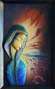 Bluesky Painting Prints - Surfing Mary  Print by Kauhane
