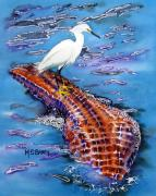 Egret Paintings - Surfing the Gator by Maria Barry