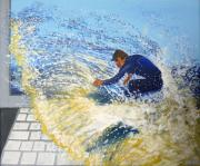 Surfing Art Painting Originals - Surfing the net by Bill Ogg