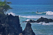 Island Photos Posters - Surfing the Rugged Coastline Poster by Bette Phelan