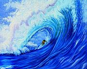 Surf Paintings - Surfing the Wild Wave by Kathern Welsh