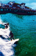 Stearns Posters - Surfing Through Stearns Wharf Poster by Ron Regalado