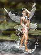 Surfing Digital Art Posters - Surfing water fairy Poster by Shardox