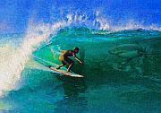 Sharks Art - Surfs Up by James Temple
