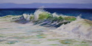 New England Pastels Posters - Surfs Up Poster by Jeanne Rosier Smith