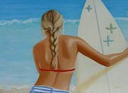 Surfer Girl Paintings - Surfs Up by Leah  Welch