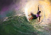 Water Sports Art Posters - Surfscape 01 Poster by Miki De Goodaboom