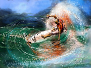 Wind Surfing Art Paintings - Surfscape 03 by Miki De Goodaboom