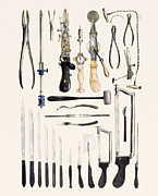 Scissors Framed Prints - Surgical Instruments For Use On Bone Framed Print by Mehau Kulyk