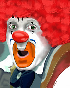 Punch Digital Art Posters - Surprised Clown Poster by Methune Hively
