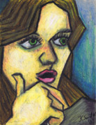 Oil Pastel Prints Pastels Framed Prints - Surprised Girl Framed Print by Kamil Swiatek