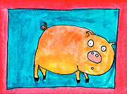 Red Pig Posters - Surprised Pig Poster by Nick Abrams Age Thirteen