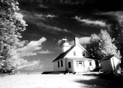 Surreal Infrared Art Photos - Surreal Black White Infrared Black Sky Landscape by Kathy Fornal