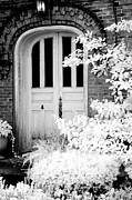 Haunting Print Framed Prints - Surreal Black White Infrared Spooky Haunting Door Framed Print by Kathy Fornal