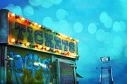 Cotton Candy Festival Art Prints - Surreal Carnival Art Tickets Booth and Slide Print by Kathy Fornal