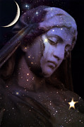 Haunting Art Photos - Surreal Celestial Angel With Stars and Moon by Kathy Fornal