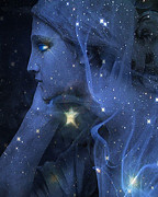 Haunting Art Photos - Surreal Celestial Blue Female Face With Stars by Kathy Fornal