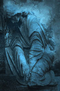 Blue Angel Photos Posters - Surreal Cemetery Grave Mourner In Blue Sorrow  Poster by Kathy Fornal