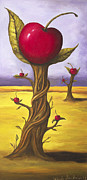 Vine Leaves Posters - Surreal Cherry Trees Poster by Leah Saulnier The Painting Maniac