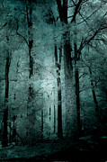 Haunting Woodlands Posters - Surreal Dark Eerie Haunting Woodlands Poster by Kathy Fornal
