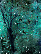 Photos Of Birds Prints - Surreal Dreamy Aqua Teal Ravens Trees Nature  Print by Kathy Fornal