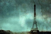 Night Photographs Art - Surreal Dreamy Eiffel Tower Abstract Art Photo by Kathy Fornal