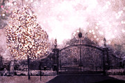 Fantasy Tree Art Print Posters - Surreal Dreamy Plum Pink Gate Shimmering Tree Poster by Kathy Fornal