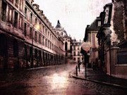 Streets Of France Posters - Surreal Dreamy Streets of Versailles France Poster by Kathy Fornal
