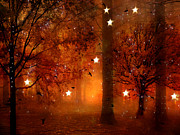 Haunting Woodlands Posters - Surreal Fantasy Autumn Woodlands Starry Night Poster by Kathy Fornal