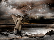 Surreal Angel Art Posters - Surreal Fantasy Celestial Angel With Stars Poster by Kathy Fornal