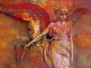 Fantasy Angel Art Posters - Surreal Fantasy Dreamy Impressionistic Angel Art  Poster by Kathy Fornal