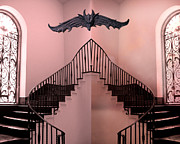 Gargoyles Framed Prints - Surreal Fantasy Gothic Gargoyle Over Staircase Framed Print by Kathy Fornal