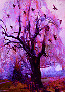 Gothic Trees Prints - Surreal Fantasy Gothic Nature With Ravens Print by Kathy Fornal