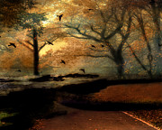 Haunting Woodlands Posters - Surreal Fantasy Haunting Autumn Trees Ravens Poster by Kathy Fornal