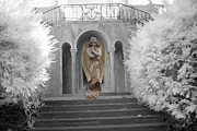 Surreal Fantasy Infrared Fine Art Prints Prints - Surreal Fantasy Infrared Angel Standing On Steps Print by Kathy Fornal