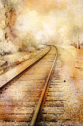 Eerie Haunting Nature Photos Posters - Surreal Fantasy Infrared Railroad Tracks Fall Nature Poster by Kathy Fornal
