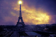 Romantic Paris Prints Prints - Surreal Fantasy Paris Eiffel Tower Sunset Sky Scene Print by Kathy Fornal