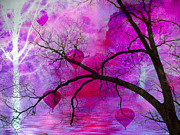 Tree Surreal Prints - Surreal Fantasy Pink Purple Tree With Balloons Print by Kathy Fornal