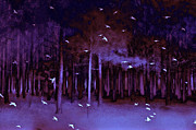 Gothic Trees Prints - Surreal Fantasy Purple Woodlands With Birds Print by Kathy Fornal